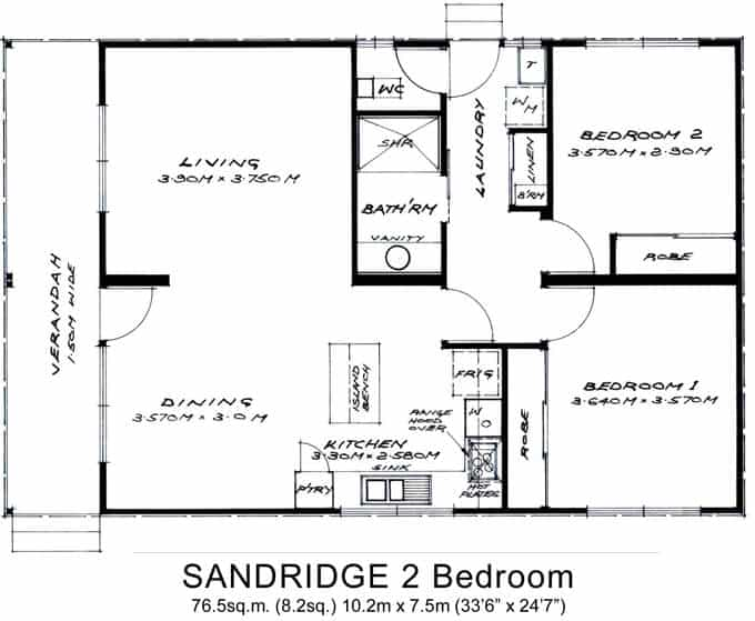 2 bed granny flats small willow grove for Plan of two bedroom flat
