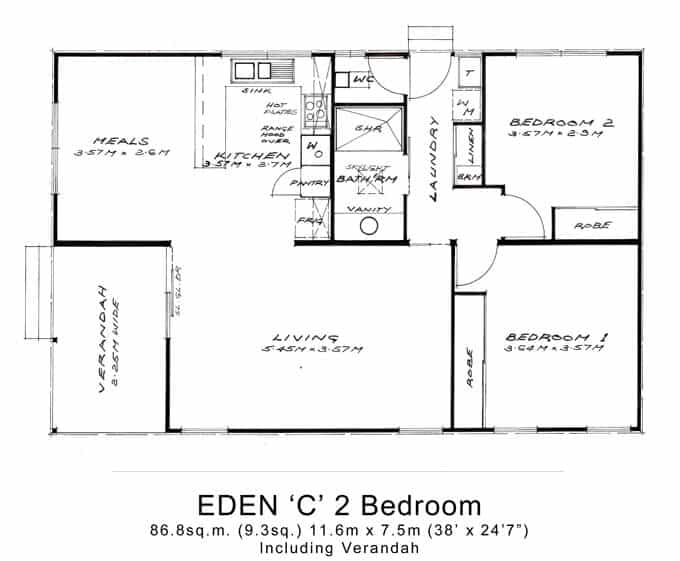 2 bedroom granny flat melbourne 2 bed granny flats large for Plan of two bedroom flat