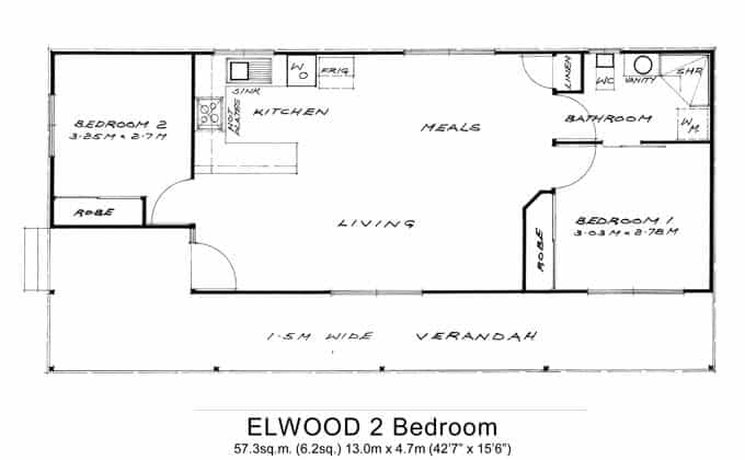 2 bed granny flats small willow grove for Granny flat floor plans 1 bedroom
